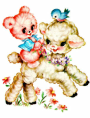 Vintage Image Retro Shabby Pink Bear Riding Lamb Waterslide Decals AN514