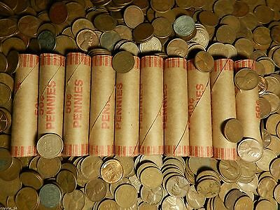 Lot of 10x Unsorted Unopened US Lincoln Wheat Cent Penny Roll 1909-1958 P D S