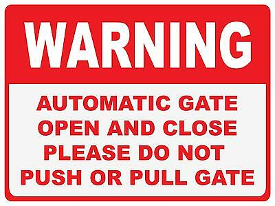Warning Automatic Gate Sign - 300 X 225Mm - Polypropylene Sign - Door Gate Sign