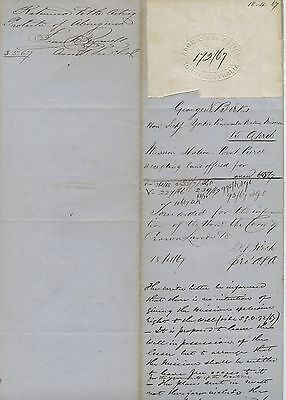 1867 Rare Document Acceptance Of Offer Of Land For Point Pearce Mission Sa K65