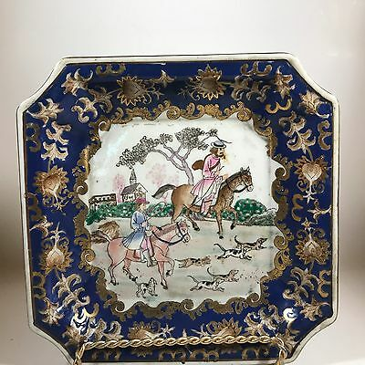 Vintage plate with hunting dogs by Andrea Sadek