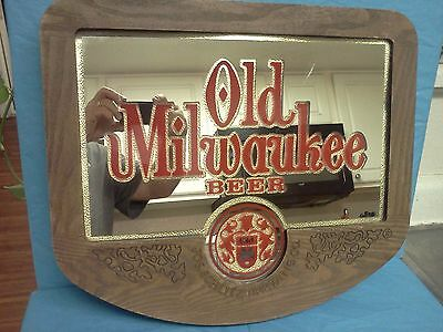 OLD MILWAUKEE  Beer mirror sign Vintage Large 19 x 17 Bar Deco Man Cave Schlitz
