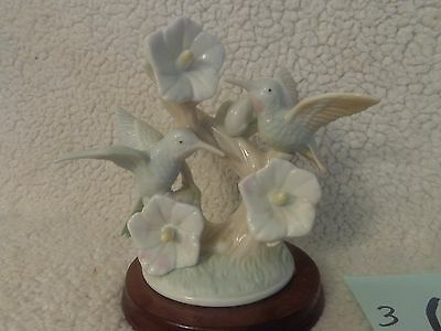 porcelain Hummingbird White Flowers Statue on Wood Base Figurine Collectible
