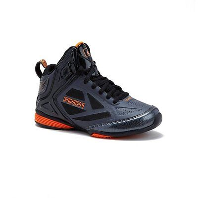 And 1 Youth Boys Gray/Orange Fantasy High Top Athletic Sneakers/Shoes: 4-6
