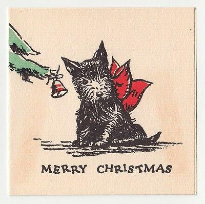 Vintage Greeting Card Christmas Tree Scotty Dog Red Bow 1930s