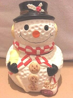 Vintage Gibson Snowman Holiday Cookie Jar, Cookie Buttons, Free Shipping
