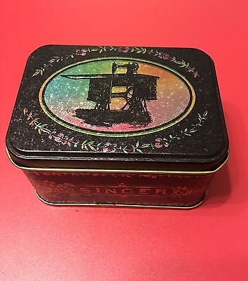 Singer Sewing Machine Vintage Style Small Lidded Box Black Metal Tin