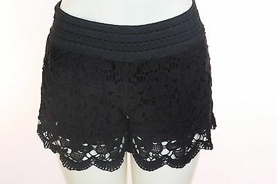 Womens Vintage Black Floral Crochet Shorts Fully Lined Scallop Hem