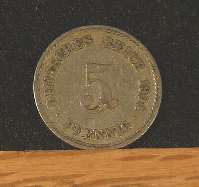 1904 A Germany  5 Pfennig Coin     F21