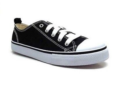 Faded Glory Youth Boys  Black Canvas Casual Lace-up Athletic Sneakers Shoes  d5e48285cd0