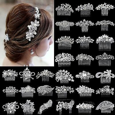 Wedding Bridal Crystal Rhinestone Hair Headband Crown Comb Tiara Prom Pageant WL