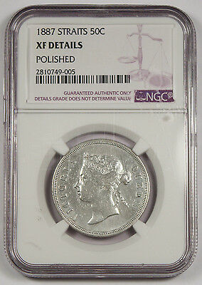 STRAITS SETTLEMENTS 1887 50 CENTS Silver Coin NGC XF Queen Victoria KM#13