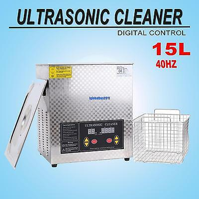 15L Ultrasonic Cleaner Industry Heated Digital Cleaner Cleaning Machine w/ Timer