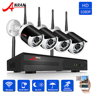 ANRAN 4CH 1080p HD Home Wireless Security 2.0MP Camera System Outdoor NVR System