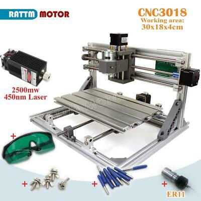 3 Axis 3018 GRBL Control DIY CNC Laser Machine Milling Wood Router+2.5W Laser