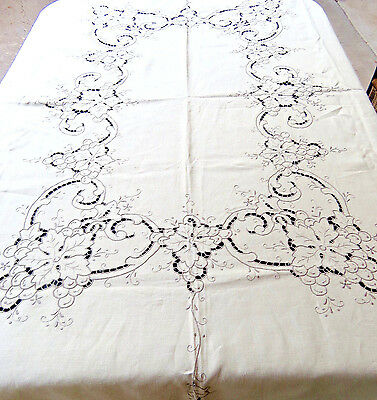 Vintage Linen Grapes Tablecloth Hand Embroidered 64x84 Oblong