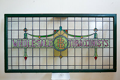 Antique Wholesale Tobacconists Stained Glass Window