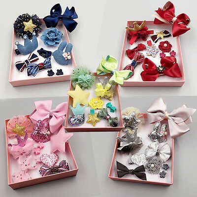 10Pcs/lot Kids Baby Girls Bowknot Hair Clips Flower Star Barrette Pins Gift Box