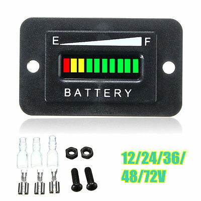 12/24/36/48/72V LED Battery Indicator Gauge for EZGO Club Car Yamaha Golf Cart