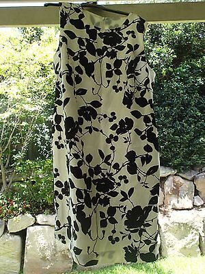 1x White/Black Floral Silk Dress, formal/casual fitted shift sleeveless 16 BNWT