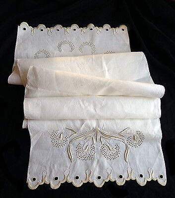 """Antique ARTS AND CRAFTS Linen Runner Superb Hand Embroidery  - Unfinished - 60"""""""