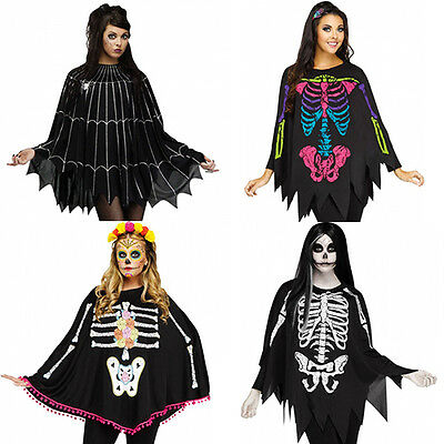 Day Of The Dead Skeleton Spider Poncho Fancy Dress Womens Adult Party Halloween
