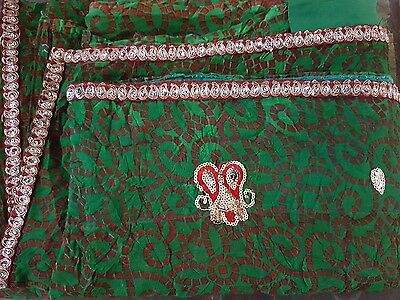 Vintage Gujarati Indian Sari Authentic Saree Costume Prop Craft Used Long Green