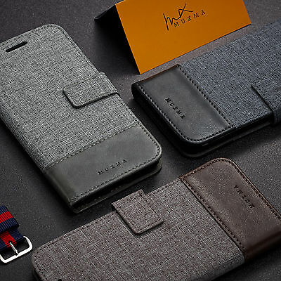 Luxury Magnetic Flip Canvas Wallet Case Stand Cover For Samsung S7 Edge S8 Plus