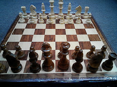 Wooden Chess Set with Wooden Pieces and Wooden Board