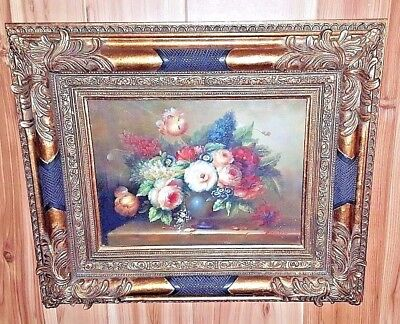 Painting Of Floral Arrangement With Incredible Frame Artist Signed Thompson