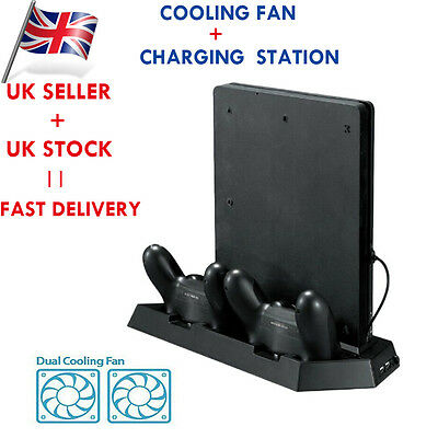 Vertical Stand Cooling Fan with Dual Charging Station for PS4 Slim Console NEW