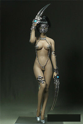 """1/6 Female Spiked Conjoined Corset Iron Mask Clothing Sets F 12"""" Ph Big Bust Toy"""