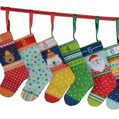 Novelty Icons Christmas Mini Stockings Advent Calendar Cut & Sew Fabric - PANEL