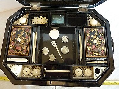 ANTIQUE CHINESE LACQUER SEWING BOX Ca.1790