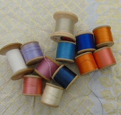 12 vintage wood cotton reels bobbins - mainly Sylko with a few others