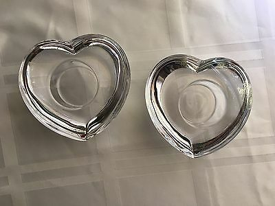 Pair Of Orrefors Crystal Heart Shaped Tea Light Candle Holders, Sweden