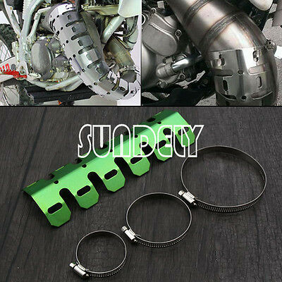 Universal Dirt Bike Exhaust Heat Shield Guard 2 Stroke Pipe Protector Kit Green