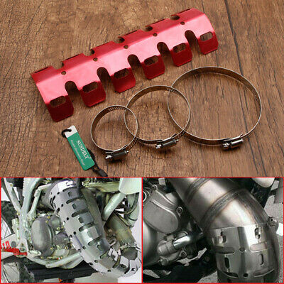 Motorcycle Red Exhaust Heat Shield Pipe Guard Dirt Bike For Honda Yamaha