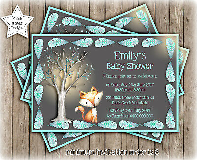 FOX WOODLAND BOY BABY SHOWER PARTY PERSONALISED INVITATION x 1