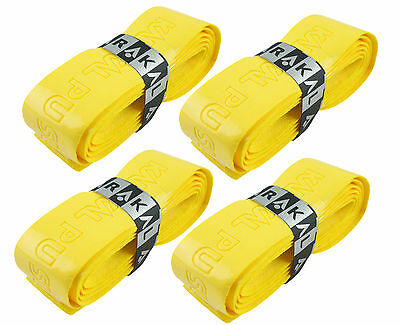 4 x Karakal Super PU Replacement Grips Yellow - Squash or Badminton Length