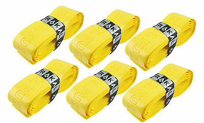 6 x Karakal Super PU Replacement Grips Yellow - Squash or Badminton Length