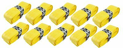 10 x Karakal Super PU Replacement Grips Yellow - Squash or Badminton Length