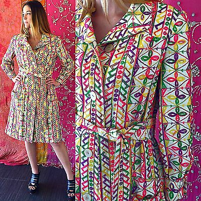 Vintage 70s Mod Floral Jacket Psychedelic Rainbow Embroidered Bohemian Hippie