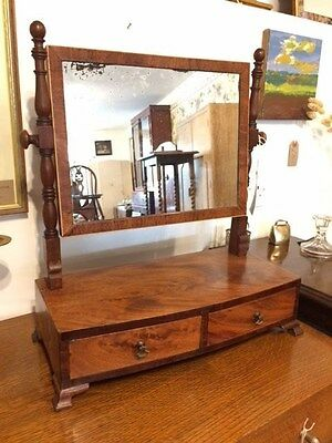 Antique Georgian Mahogany / Walnut Vaneered Dressing Table Swing Mirror