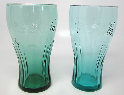Coca-Cola Contour Glasses - Pair of Tall Green Glass 16 Ounce Glasses
