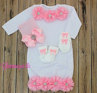 Newborn Baby Girl Gown and Bowknot Hat + Socks and Mittens - 0-3 months