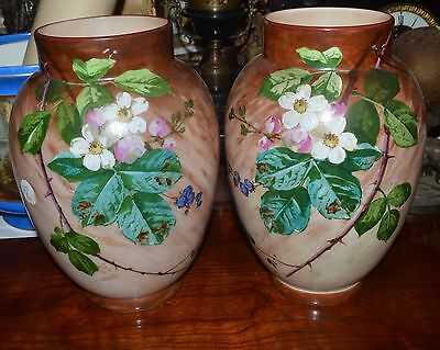 """GORGEOUS  C1880  vICTORIAN PAIR OF BRISTOL HAND PAINTED FLORAL VASES 12"""""""