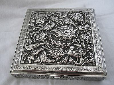 Antique Hallmarked Islamic Persian Solid Silver Box Hand Chased With Birds