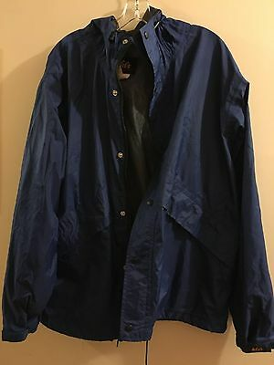 REI ELEMENTS Windbreaker Rain Jacket Waterproof. Blue Men's Size L Hooded