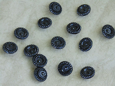 14 Black Glass Moon & Star Antique Vintage Buttons